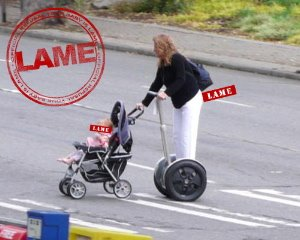 mom segway pushes baby stroller