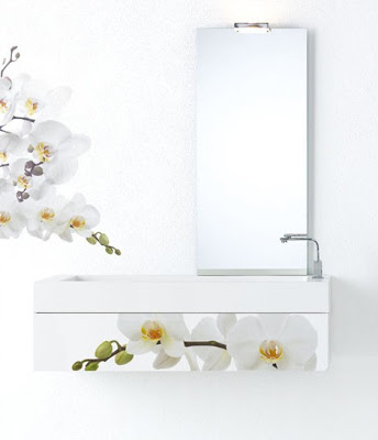 modern,bathroom,furniture,white,flowers,decor