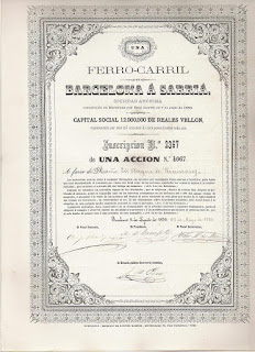 share of the Ferro-Carril de Barcelona à Sarriá issued to the Duque of Rianzares