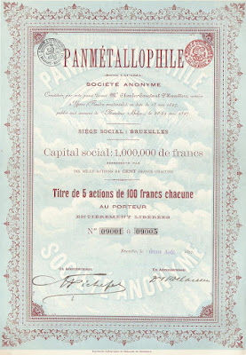 certificate for 5 shares of the Panmétallophile (Brevents Capazza) company