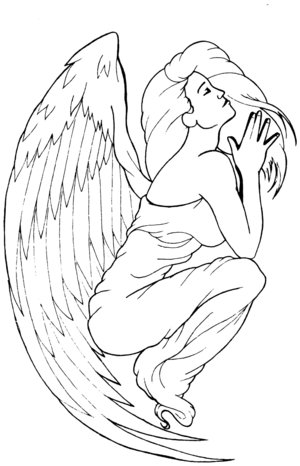 sad angel tattoo. small angel wing tattoos.