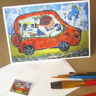 Orange Car Trip Fun Collage Painting Greeting Card
