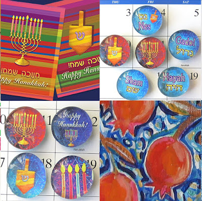 Hanukkah greeting cards and magnets