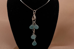 Blue Chalcedony Dangle Necklace