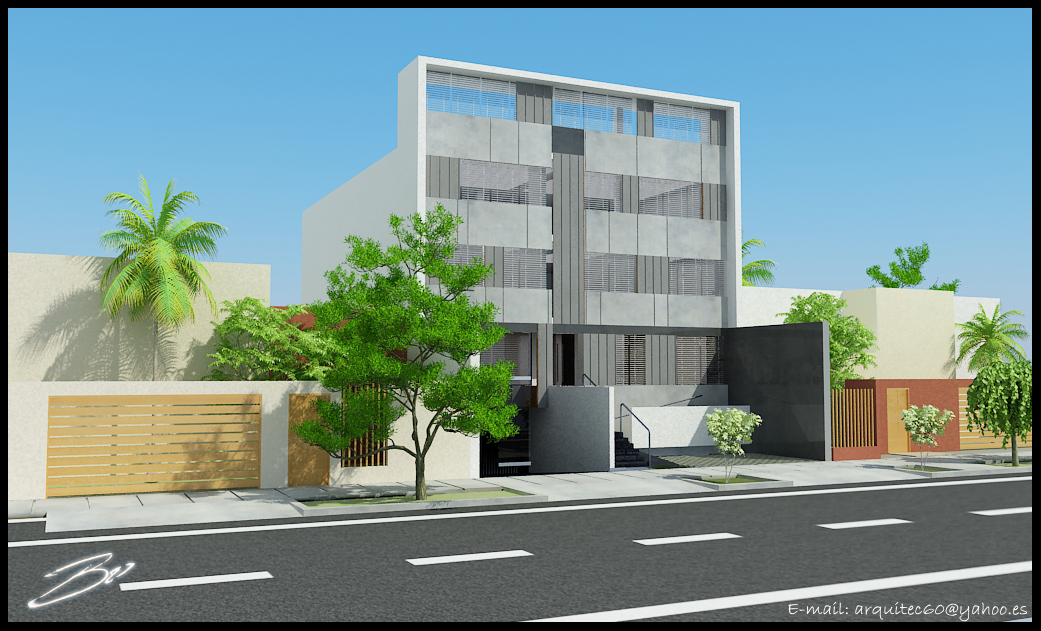 Bo3d cg art animation oficinas ladersam san isidro for Fachadas para oficinas