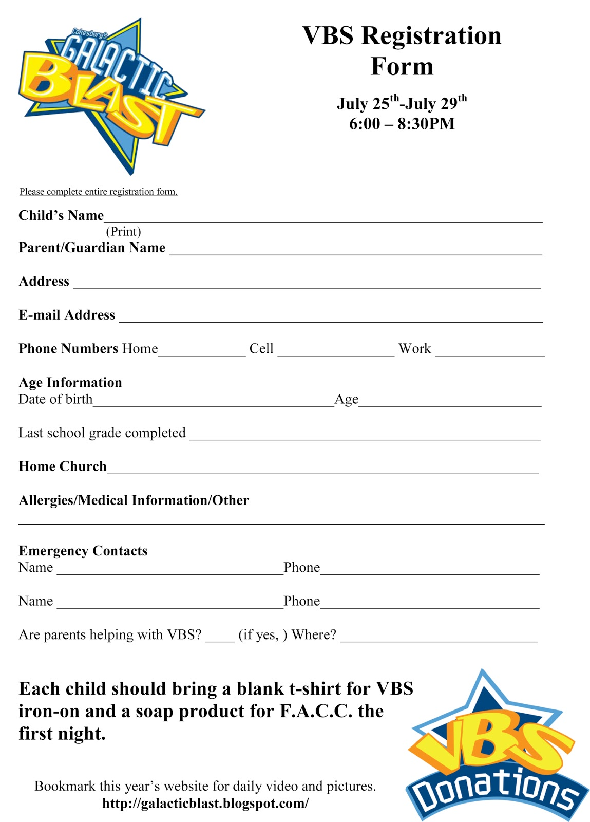 shake it up cafe vbs  registration form