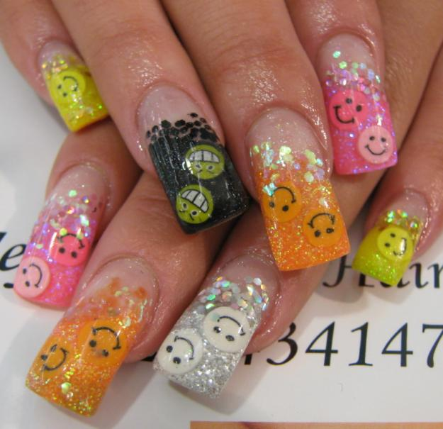 Galery Of Gel Nail Designs Orange Pink Gel Nail French Nails With Gel