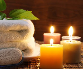 Spa Candles And Flowers