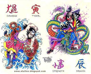 Samurais, Kanji Coragem, Kanji Tigre, Kanji Dragão, Kanji Força