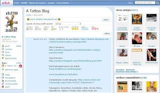 Seu perfil no Orkut com o Feed Tatuagem