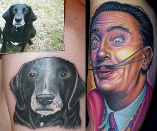 Tatuagem Portrait de um cachorro e tatuagem Realista colorida de Salvador Dalli