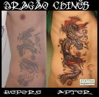 Tatuagem de Dragão na Costela