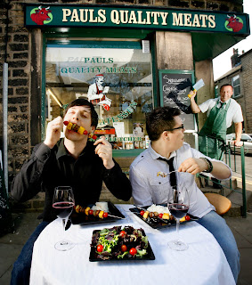 no fear as 2 men celebrate national vegetarian week