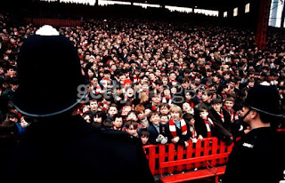 Close up picture of the Old Stretford End
