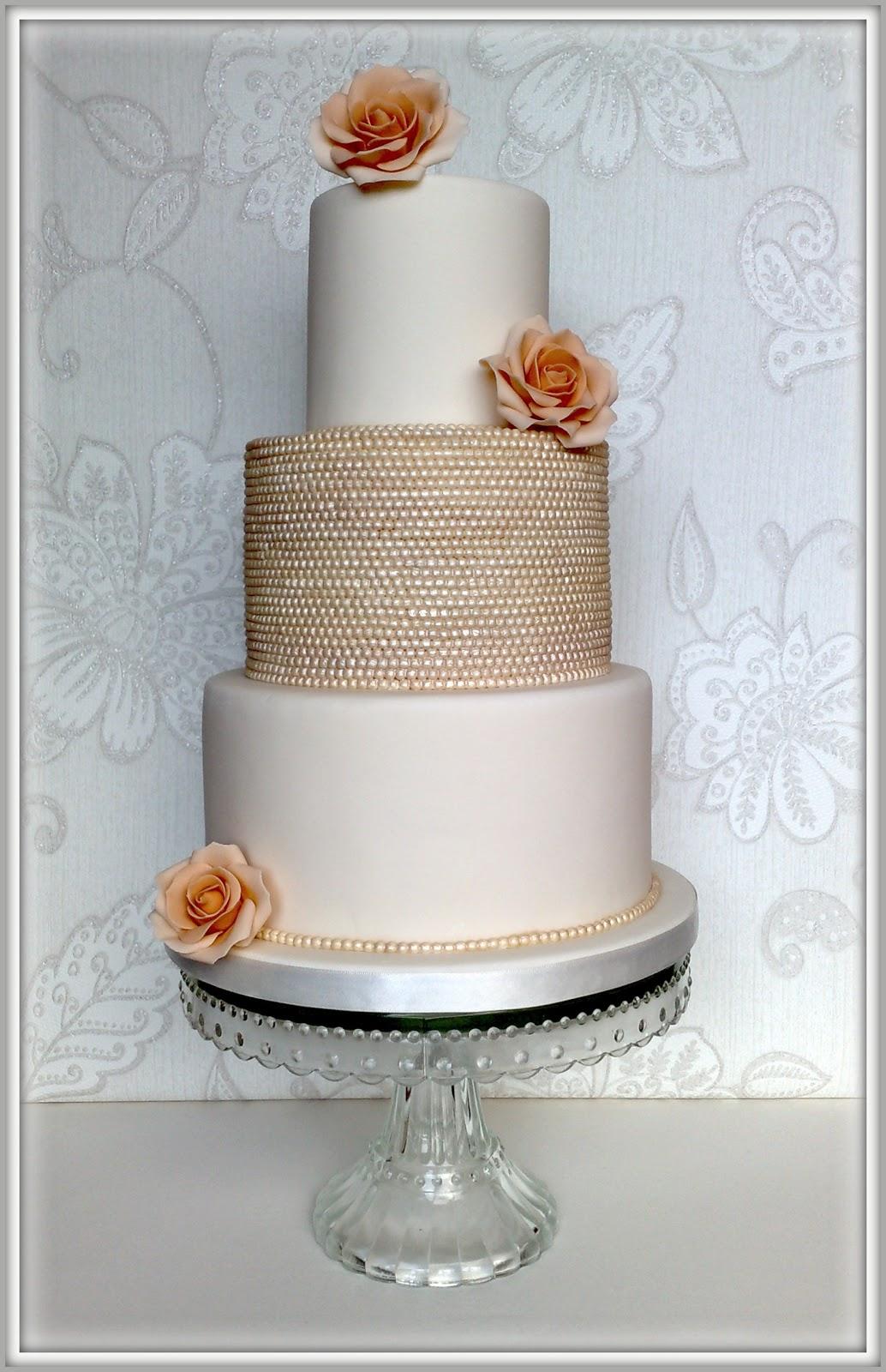 Pearl Wedding Cake Vintage Vintage Pearl Rose Wedding