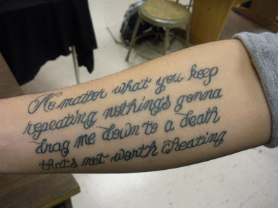 Elliott Smith lyric tattoo on Alden F.'s forearm. 17 December 2008.