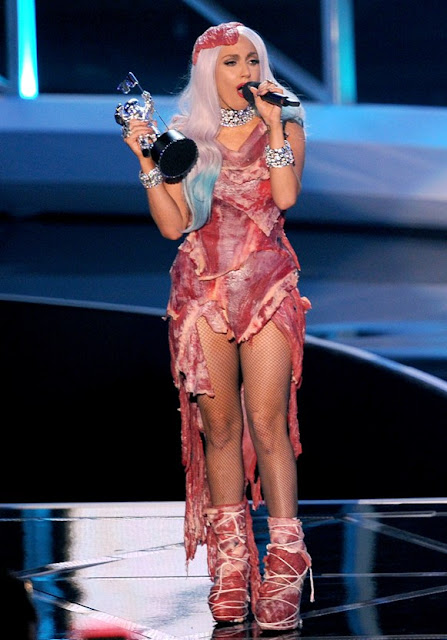 lady gaga meat dress real meat. lady gaga meat dress real.
