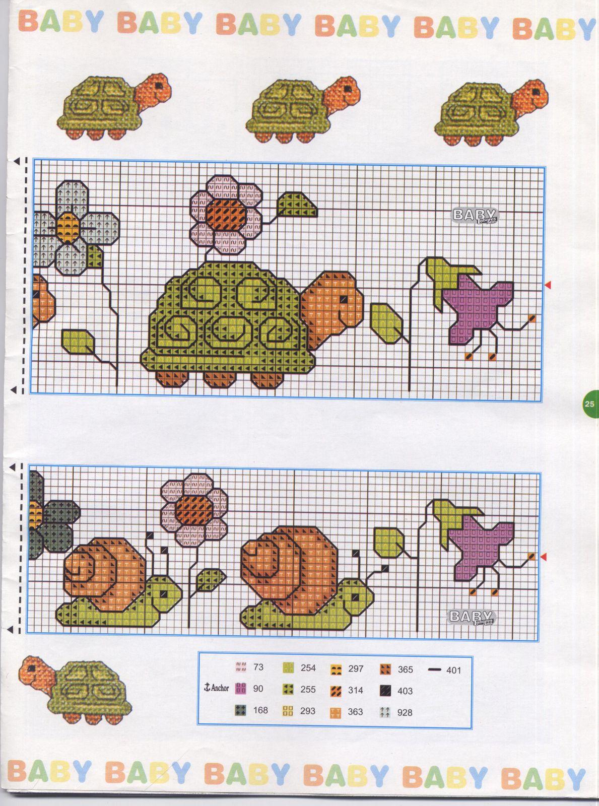 Ponto cruz: gráficos para o enxoval do bebê | BananaCraft