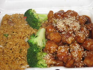 Click to enlarge. Sesame chicken with pork fried rice.