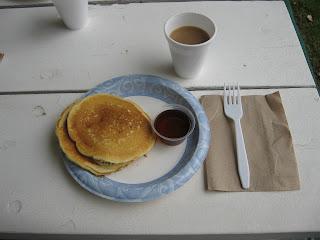 KOA Kafe basic free breakfast, two pancakes and syrup, coffee