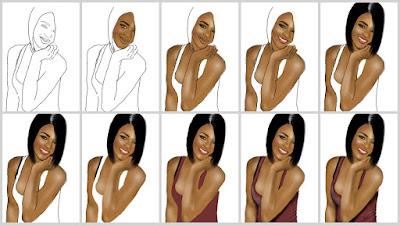 Här är en liten steg för steg bild när jag rita rihanna