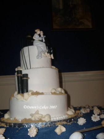 Sea Shell Wedding Cake Buttercream icing with white chocolate sea shells
