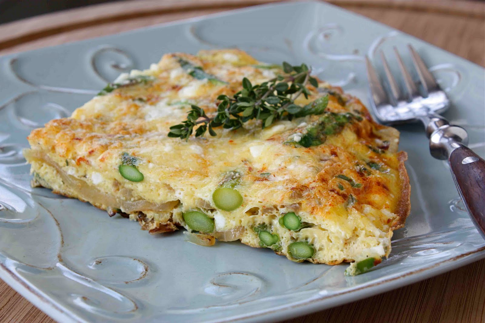 Asparagus Frittata Recipe with Smoked Paprika, Thyme & Feta Cheese