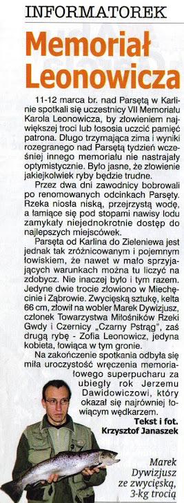 I miejsce w Memoriale im. Karola Leonowicza