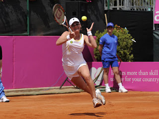 Mariya Koryttseva (UKR); Photographer: Ray Giubilo; 26 Apr 2008; Fed Cup World Group, Play-offs 2008