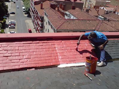 Reformas arias le n impermeabilizaci n con fibra de - Caucho para tejados ...