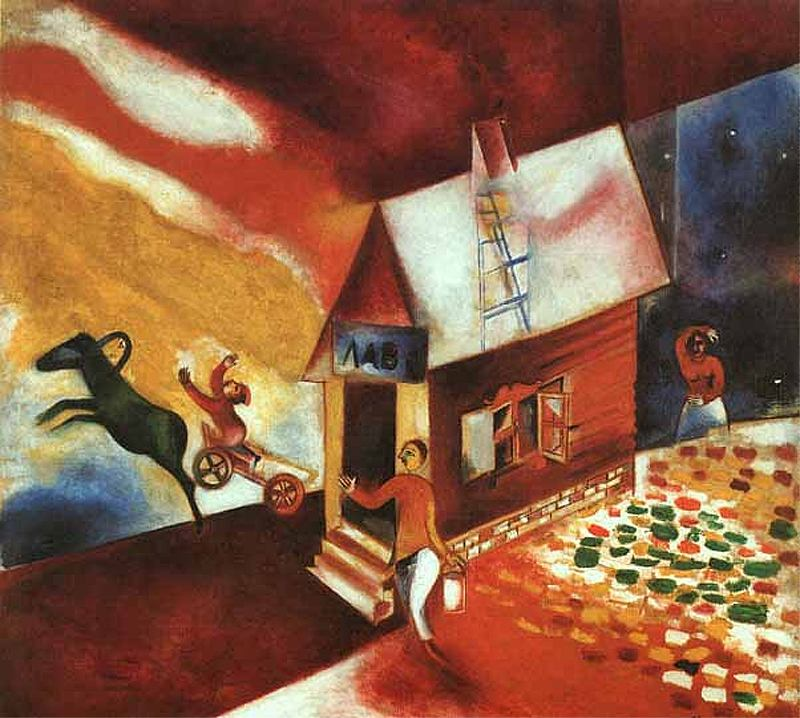 MARC CHAGALL, The Flying Carriage - La Carreta Voladora