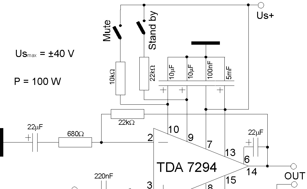 electronics circuits  100w audio amplifier  tda 7294