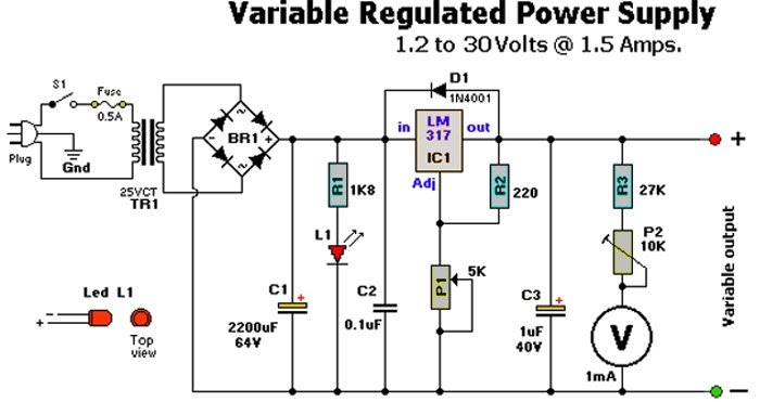 electronics circuits  variable regulated powersupply 1 2 to 30v   1 5 amps