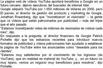 Youtube empezara a generar ganancias