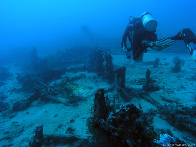 Deeper into the blue on Anchor Wreck, Menjangan Island, Bali