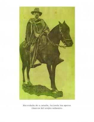"""Hacendado Sabanero luciendo la indumentaria caracteristica del Orejon Sabanero. """"Canoas"""" 1876"""