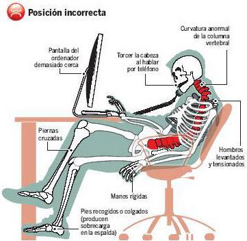 Ergonomia 6 malas posturas for Sillas para una buena postura