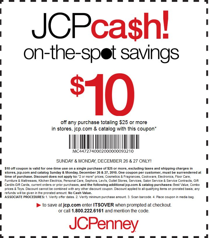 JCPenney printable coupon-$10 Off