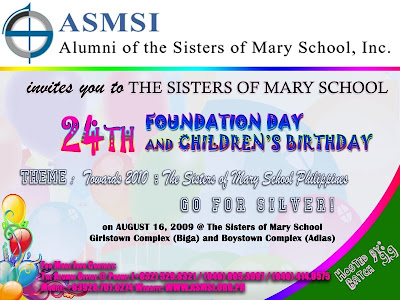 Invitation sms 24th foundation day and childrens birthday 09 celebration of sms philippines 24th foundation day and childrens birthday on august 16 2009 sms campuses in biga adlas talisay and minglanilla stopboris Gallery