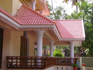 Picture shows view of traditional poomukham and verandah of Kerala