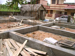 Kerala house construction at cochin foundation beam work for Dreamhomes com