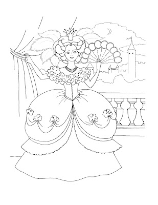 princess crown coloring page - barbie coloring page skirt