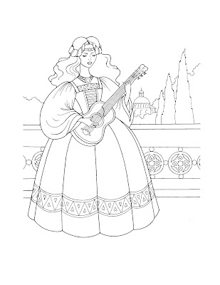 While this coloring page features a princess playing guitar.