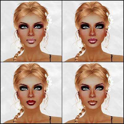 Top Right: Black Makeup Dark PinkLips