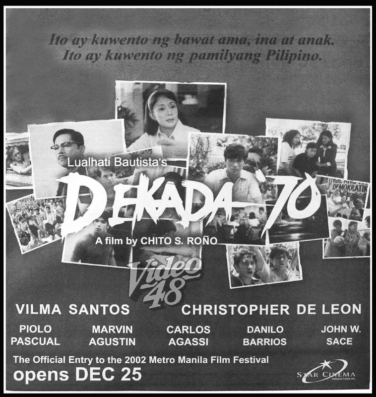 film analysis for dekada 70 A description of tropes appearing in dekada '70 pronounced dekada sitenta, this filipino novel was written in the '80s by author lualhati bautista,.