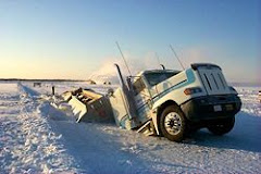 Truck crashing through ice