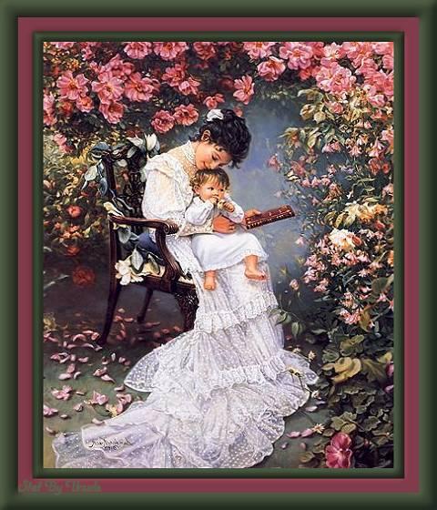 """Оригинал схемы вышивки  """"на руках у мамы """". на руках у мамы, мама, мать, кресло, сад, оригинал."""
