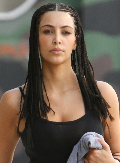 kim kardashian hair up styles. Kim Kardashian rocks cornrow