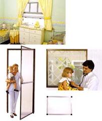 Na sequência: tela recolhível, tela de porta de abrir e tela removível (tirar e colocar):