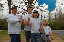 Brian,Oakley,Auston,Christopher and Peyton releasing balloons in memory of Joseph